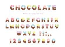 Fuente festiva del chocolate Las letras y los números divertidos se pueden utilizar para la tarjeta de cumpleaños, día de tarjeta ilustración del vector