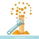 Fuente financiera del icono del concepto plano de la moneda de oro del pipline Foto de archivo