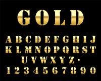 Fuente futurista de la plantilla del oro ilustración del vector