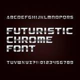Fuente futurista del alfabeto del cromo Letras y números metálicos del efecto en un fondo oscuro stock de ilustración