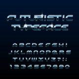 Fuente futurista del alfabeto Letras brillantes y números del efecto biselado del metal libre illustration
