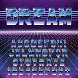 Fuente futurista retra brillante de Chrome Alfabeto retro elegante de la onda de Synth en el estilo 80s stock de ilustración