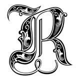 Fuente gótica adornada del estilo, letra R ilustración del vector