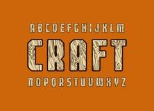 Fuente geométrica de sans serif con textura de madera Imagen de archivo
