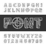 Fuente geométrica decorativa del alfabeto Mecanografíe las letras y los números libre illustration