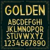 Fuente grabada en relieve de oro del vector Imagen de archivo libre de regalías