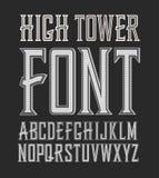 Fuente hecha a mano práctica de la etiqueta del vintage del vector Alta torre Fotografía de archivo libre de regalías