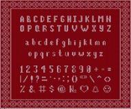 Fuente hecha punto la Navidad Alfabeto latino en fondo inconsútil libre illustration