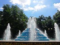 Fuente hermosa en el fondo de árboles debajo del cielo azul Foto de archivo libre de regalías