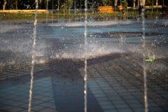 Fuente hermosa en el parque, ciudad vieja de Bukhara, Uzbekistán Imagen de archivo