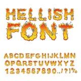 Fuente infernal infierno ABC Letras del fuego Pecadores en hellfire H Foto de archivo libre de regalías