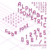 fuente isométrica del alfabeto 3d de los cubos Imagen de archivo