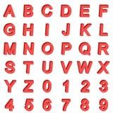 fuente isométrica del alfabeto 3D Letras y números Vector común simple tridimensional Fotos de archivo