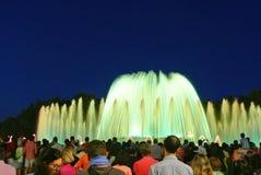 Fuente Magica magiska springbrunnar i Barcelona, Catalonia arkivfoto