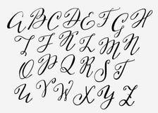 Fuente manuscrita del flourish de la caligrafía Fotos de archivo libres de regalías
