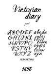 Fuente manuscrita manchada de tinta del vintage stock de ilustración