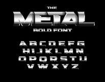 Fuente metálica brutal del estilo Fije de letras intrépidas del metal con cromo y el efecto de acero Dise?o del alfabeto del vect ilustración del vector