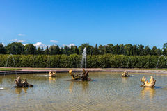 Fuente Mezheumny en el jardín superior Fotografía de archivo