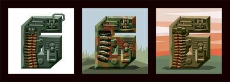 Fuente militar del alfabeto de los números 6 determinados imagen de archivo