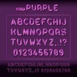 Fuente moderna del alfabeto de la exhibición con las muestras púrpuras Foto de archivo libre de regalías