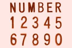 Fuente número de cobre 1 a 0, cara retra de la fuente del estilo Foto de archivo