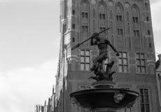 Fuente Neptuno en Gdansk. Imagenes de archivo