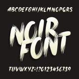 Fuente Noir del alfabeto Letras y números mayúsculos de la pincelada stock de ilustración