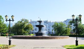 Fuente Omsk Rusia del chorro Fotografía de archivo