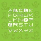 Fuente ornamental Handdrawn con los elementos florales en el contexto verde Imagenes de archivo