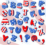 Fuente patriótica de la historieta Imágenes de archivo libres de regalías