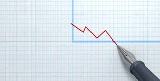 Fuente Pen Drawing Declining Graph Foto de archivo