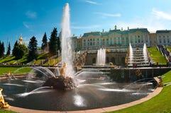 Fuente principal Samson en Peterhof en Rusia Imagenes de archivo