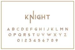 Fuente real del vintage original Un sistema de letras y de números en estilo retro Símbolos para la plantilla creativa del diseño stock de ilustración