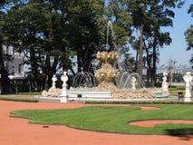 Fuente redonda hermosa en el jardín del verano Imagenes de archivo