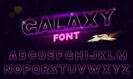 fuente retra de neón púrpura de 80 s Letras futuristas del cromo Alfabeto brillante en fondo oscuro Muestra ligera de los símbolo libre illustration