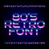 fuente retra del alfabeto de los años 80 Letras brillantes y números del efecto metálico Fotografía de archivo libre de regalías