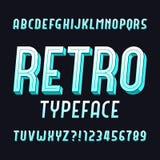 Fuente retra del alfabeto Tipografía del vintage Mecanografíe las letras y los números stock de ilustración