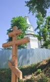 Fuente santa cruzada de la adoración Nuevo monasterio de Jerusalén Región de Moscú Fotografía de archivo