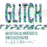 Fuente tipográfica de la interferencia con decaimiento digital Imagenes de archivo