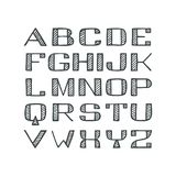 Fuente tramada de sans serif handdrawn aislada Imagen de archivo libre de regalías