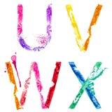 Fuente U, V, W, X del chapoteo de la pintura del vector stock de ilustración