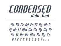 Fuente universal para el texto del título de negocio Condensado, estrecho, alfabeto cursivo Estilo dinámico de la tipografía para stock de ilustración