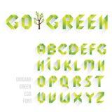 Fuente verde de Eco de la papiroflexia El alfabeto pone letras a la tarjeta de tiza Imagen de archivo