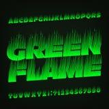 Fuente verde del alfabeto de la llama Tipo letras y números del efecto de fuego libre illustration