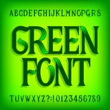 Fuente verde del alfabeto Mano adornada escrita letras y números con las hojas verdes stock de ilustración
