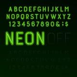 Fuente verde del alfabeto del tubo de neón Letras, números y símbolos de neón del color Encendido y apagado ilustración del vector