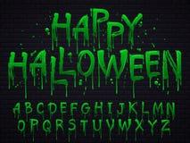 Fuente verde del limo Las letras de la basura tóxica de Halloween, horror asustadizo ponen verde la muestra de la sustancia pegaj stock de ilustración