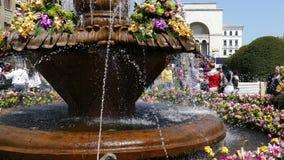 Fuente vieja hermosa con las decoraciones florales en Victory Square, Timisoara, Rumania almacen de metraje de vídeo