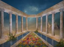 Fuente y columnas del whith del jardín de la fantasía fotos de archivo