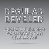Fuente y dígito biselados de esquema ilustración del vector